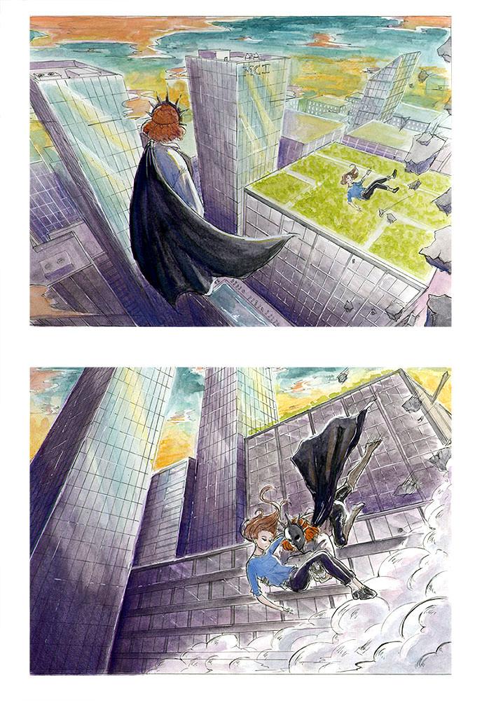 « Héroïne sauvant une jeune fille » projet d'Iris C.